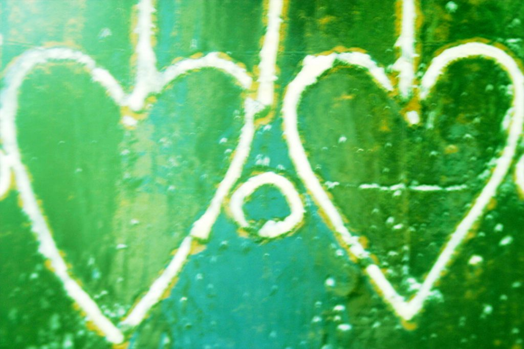 two green hearts.