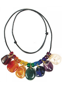 Tumbled gemstones necklace.