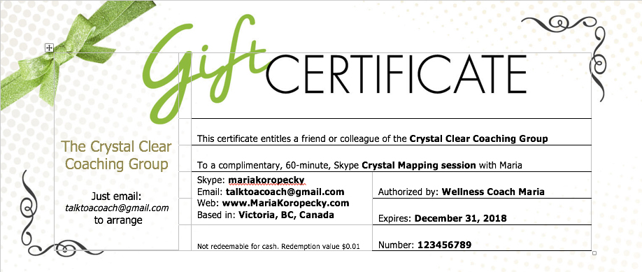 get a free crystal mapping session.