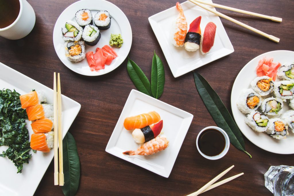 sushi on the table.