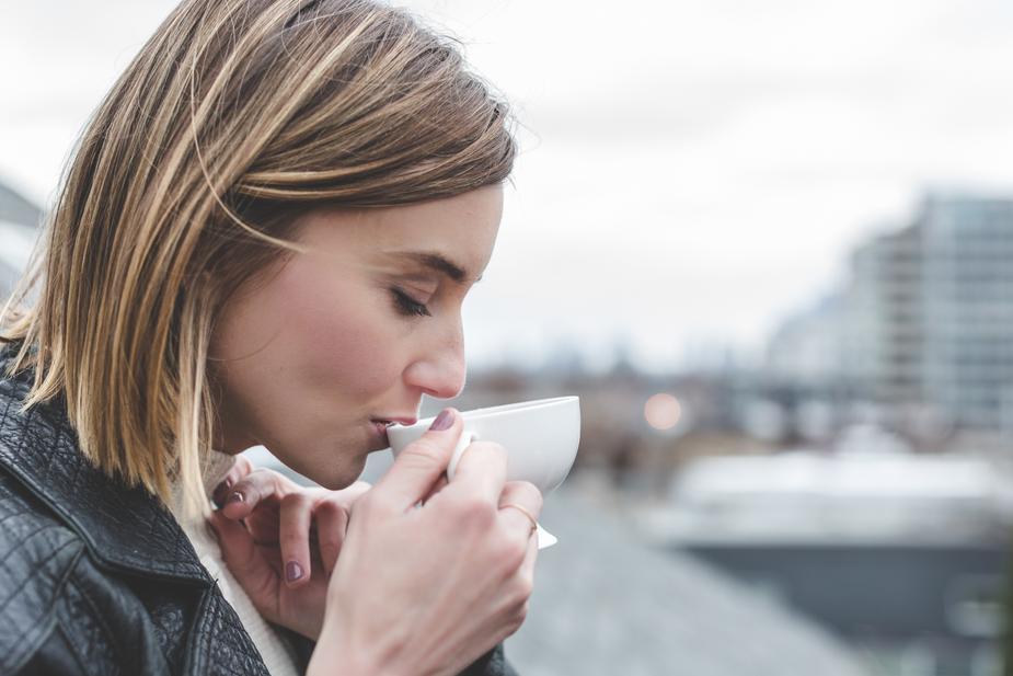 drinking tea.