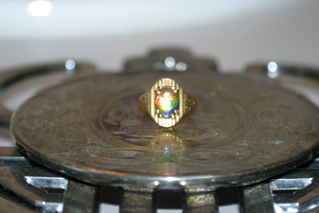 Ammolite ring with angel.