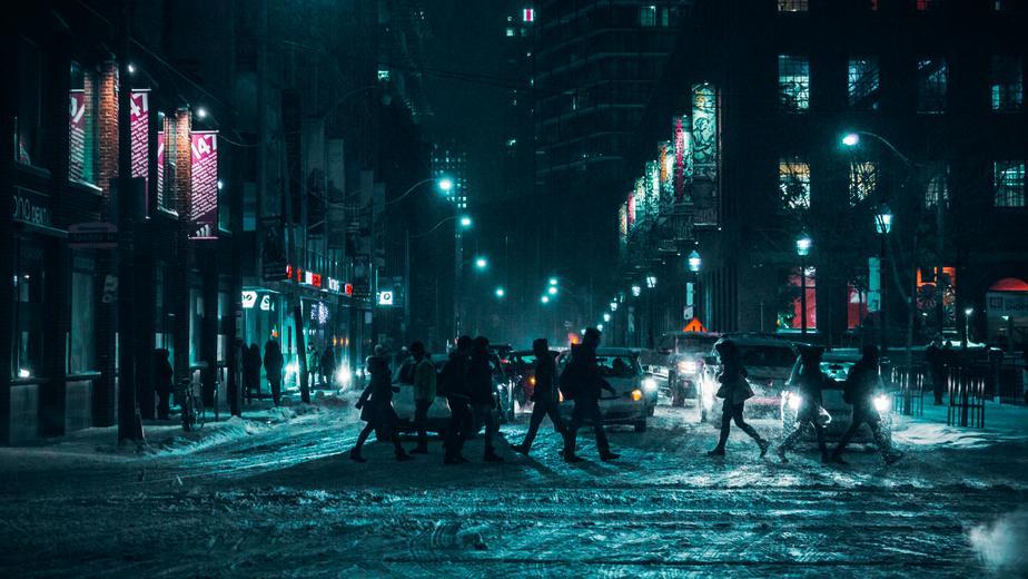 crossing street.