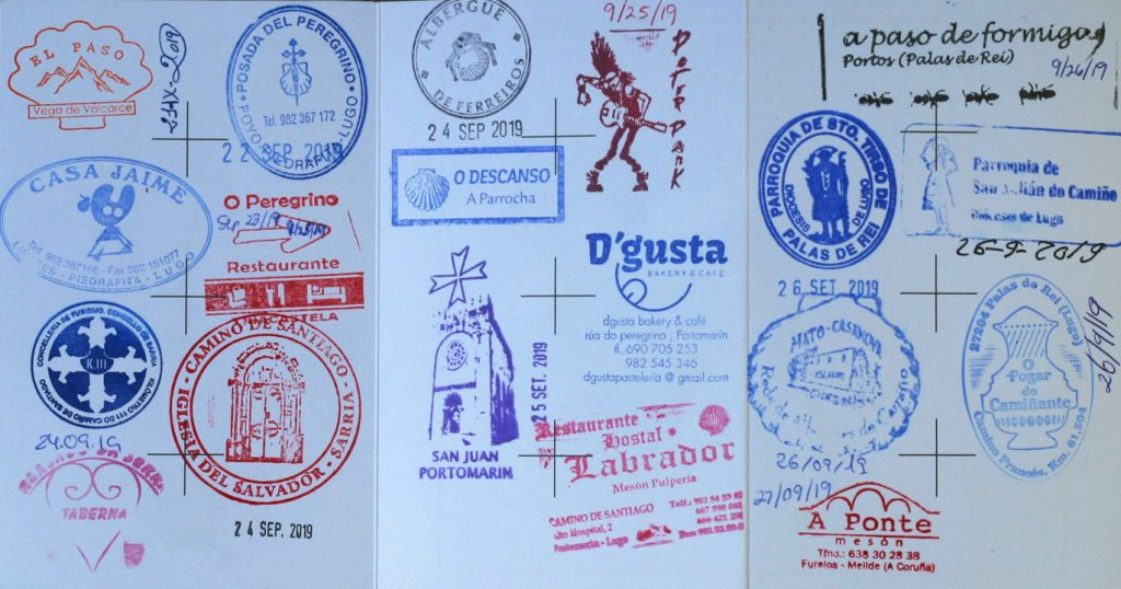 Camino stamps.